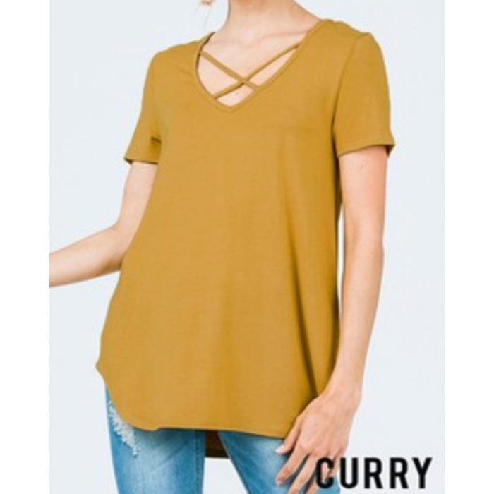 Mustard Criss Cross Short Sleeve Top