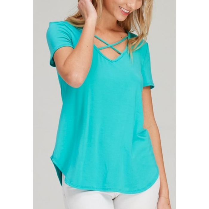 Turquoise Criss Cross Short Sleeve Top