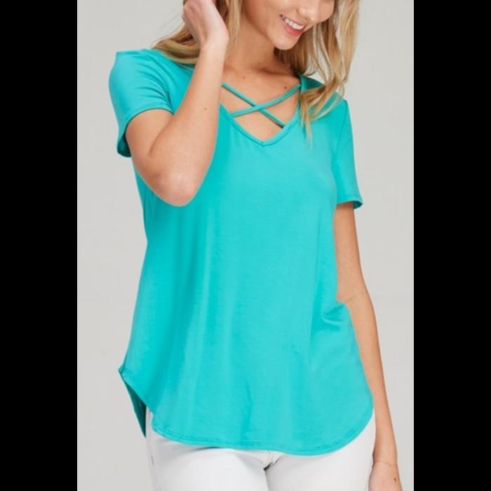 Turquoise Criss Cross Short Sleeve Top