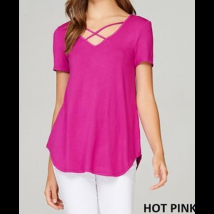 Hot Pink Criss Cross Short Sleeve Top
