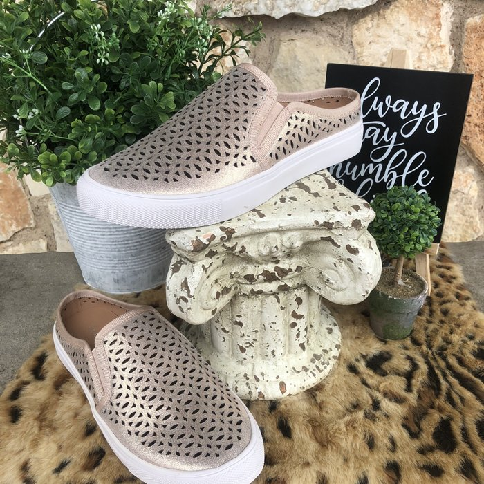 Lazercut Gold Slip On Comfort Tennis Shoe