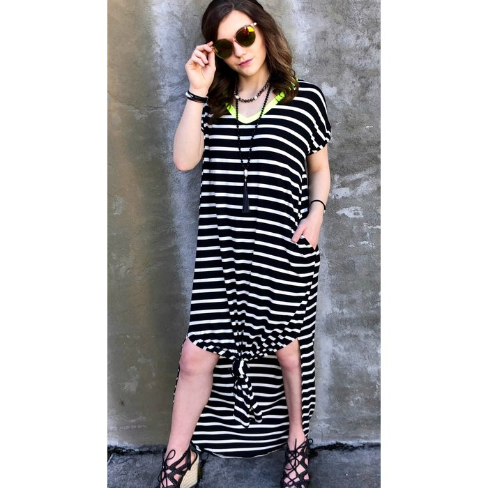 Striped Neon Yellow Neck Maxi Dress