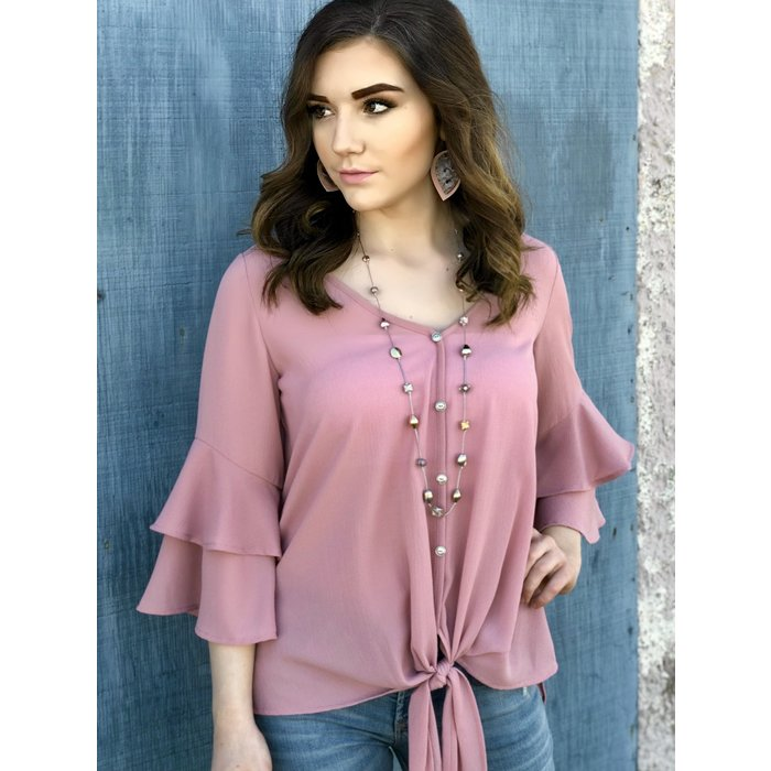 Mauve Woven Ruffle Sleeve Front Tie Top