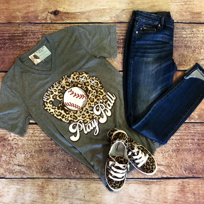 Grey Play Ball V-Neck Leopard Baseball T-Shirt