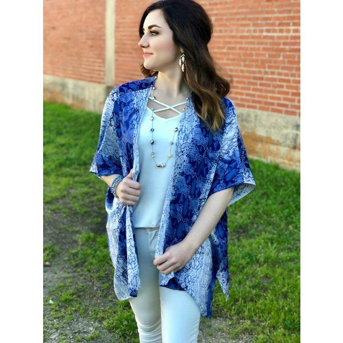 Blue & White Snakeskin Kimono