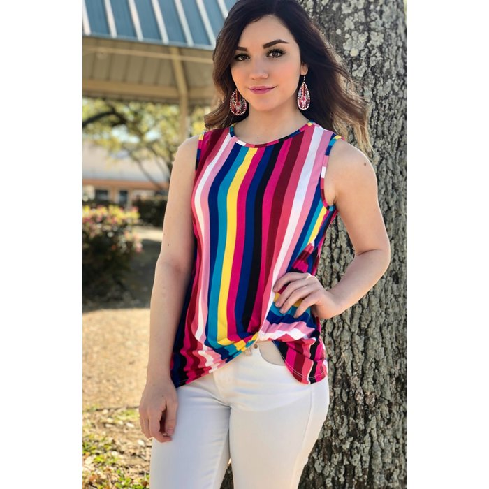 Sleeveless Multi Color Striped Side Knot Tank