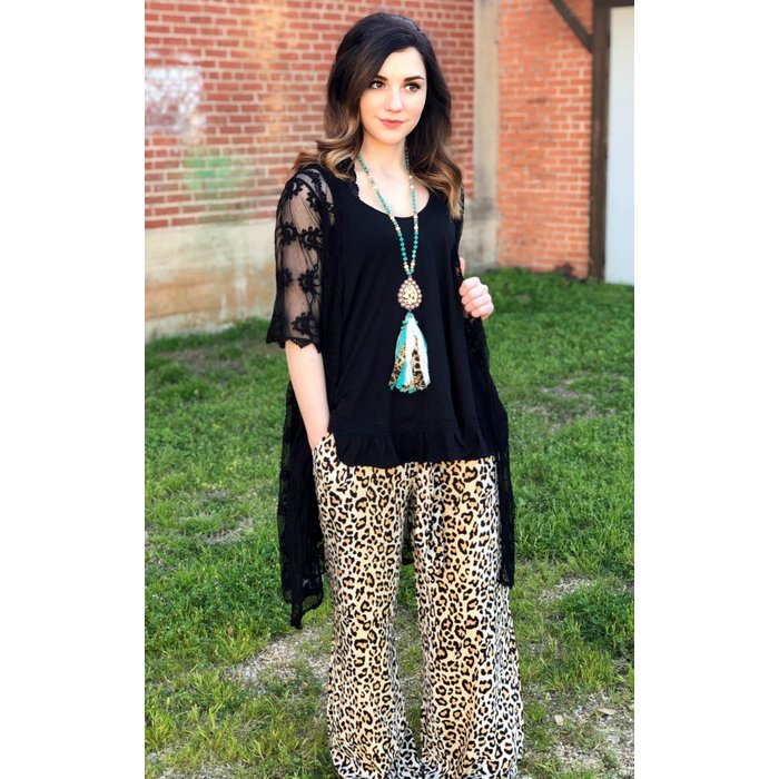 Leopard Front Tie Palazzo Pants
