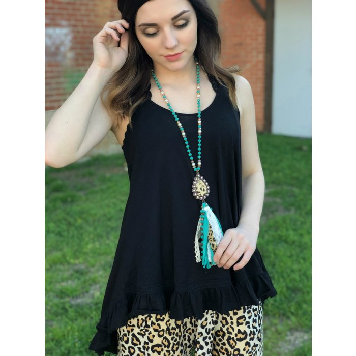 Black Slubby V-Neck Lace Hem Tank