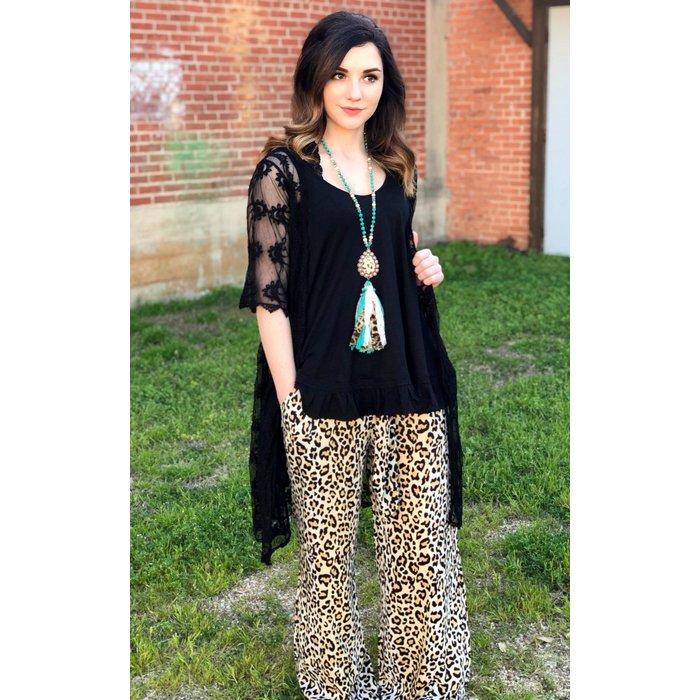 Black Wide Sleeve Lace Cardigan