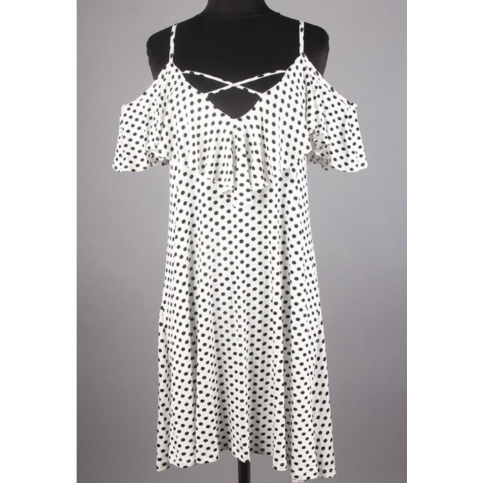 Criss Cross Ruffled Polka Dot Print Dress