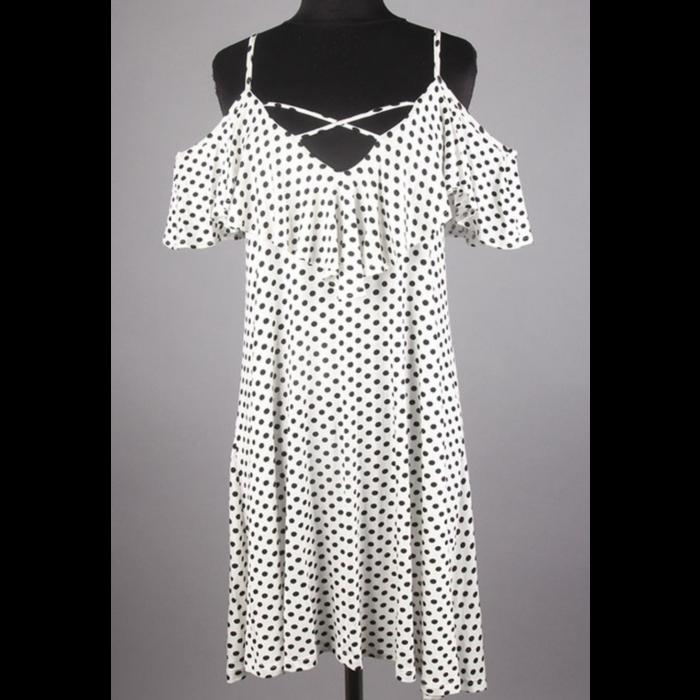 Criss Cross Ruffled Polka Dot Print Dress