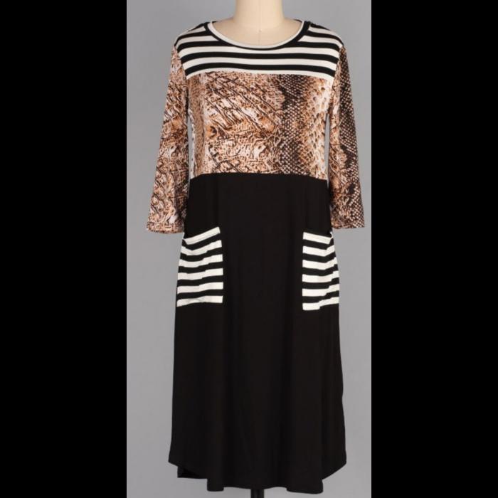Striped Snakeskin Print Midi Dress with Pockets