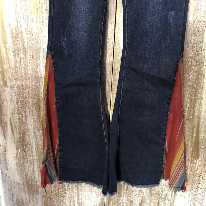 Denim Jeans with Red Serape Flare Bell Bottom