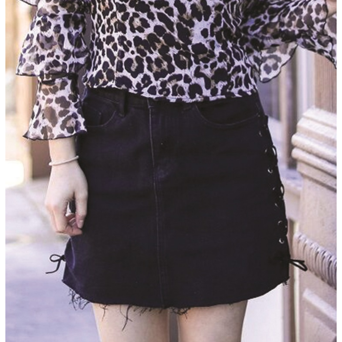 Black Denim Skirt with Laces on Side