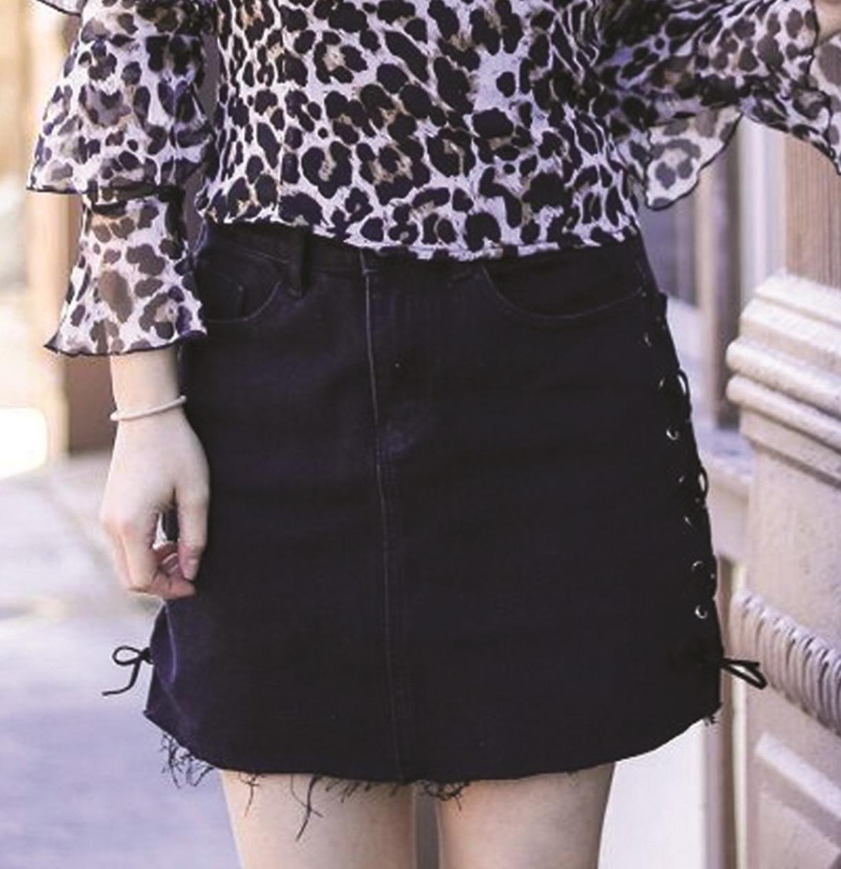 b740236d2b Black Denim Skirt with Laces on Side - TheBlingBoxOnline.com