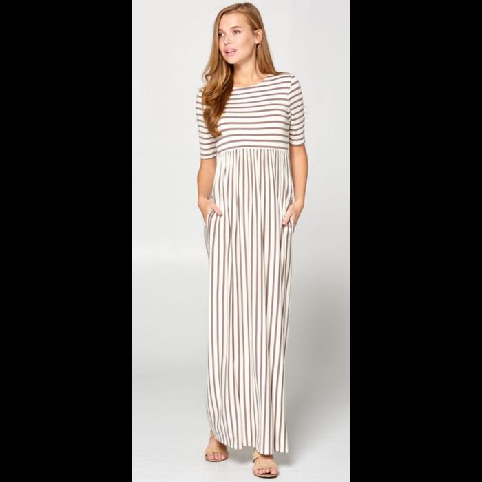Striped Dark Coco & White Maxi Dress w/Pockets