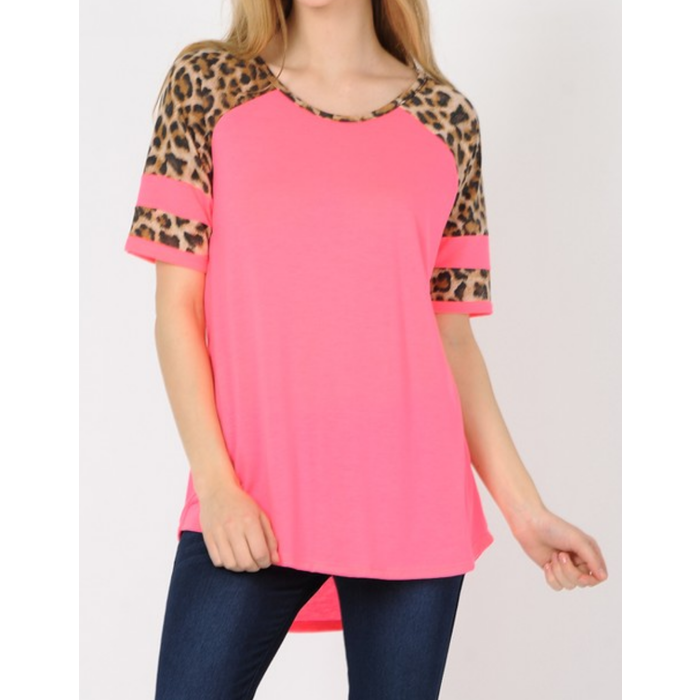 Pink Leopard Striped Sleeve Top