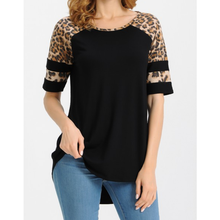 Black Leopard Striped Sleeve Top
