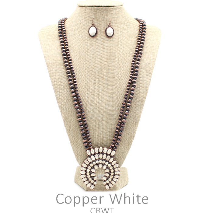 Ivory Squash Double Bronze Navajo Pearl Necklace Set