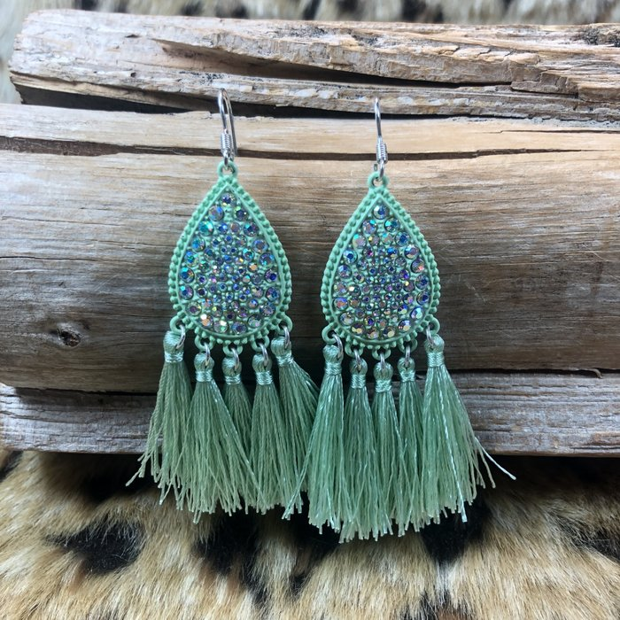 AB Teardrop Mint Fringe Earrings