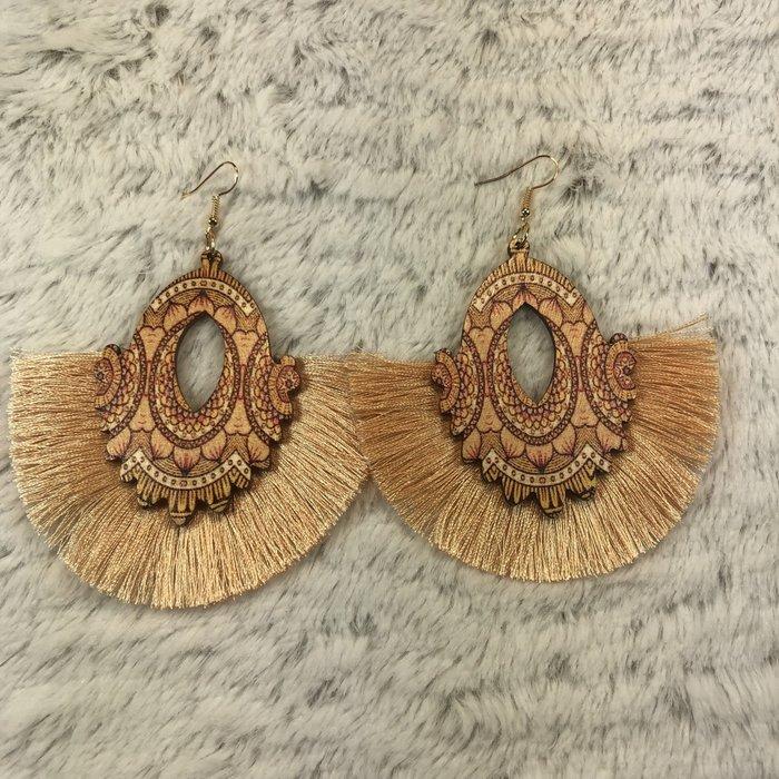 Champagne Lasercut Fan Fringe Earrings