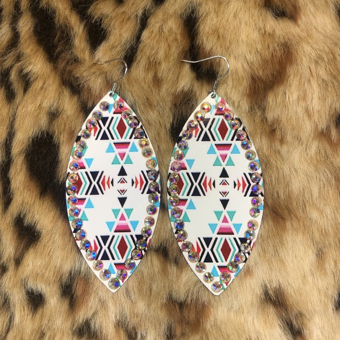White Aztec AB Crystal Diamond Shape Earrings