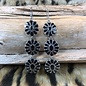 Black 3-Tiered Concho on silver Earrings