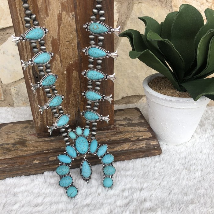 Turquoise & Silver Charm Blossom Necklace Set