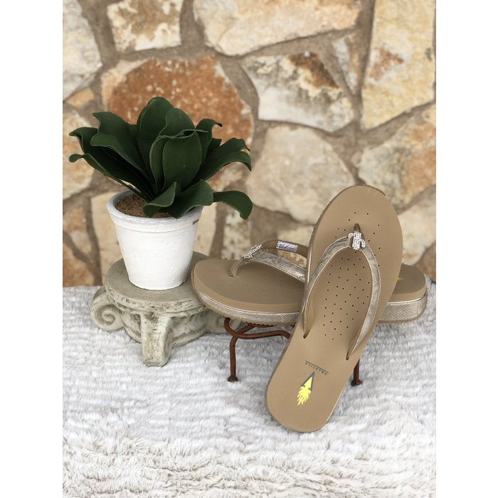 Gold Cactus Low Wedge Thong Flip Flops