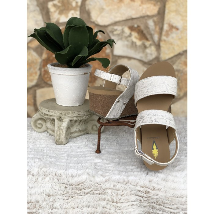 Flirtation White Snake Print Wedges