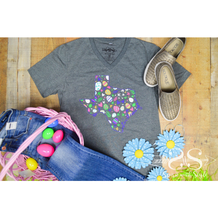 Charcoal Texas Easter Egg V-Neck Graphic Tee