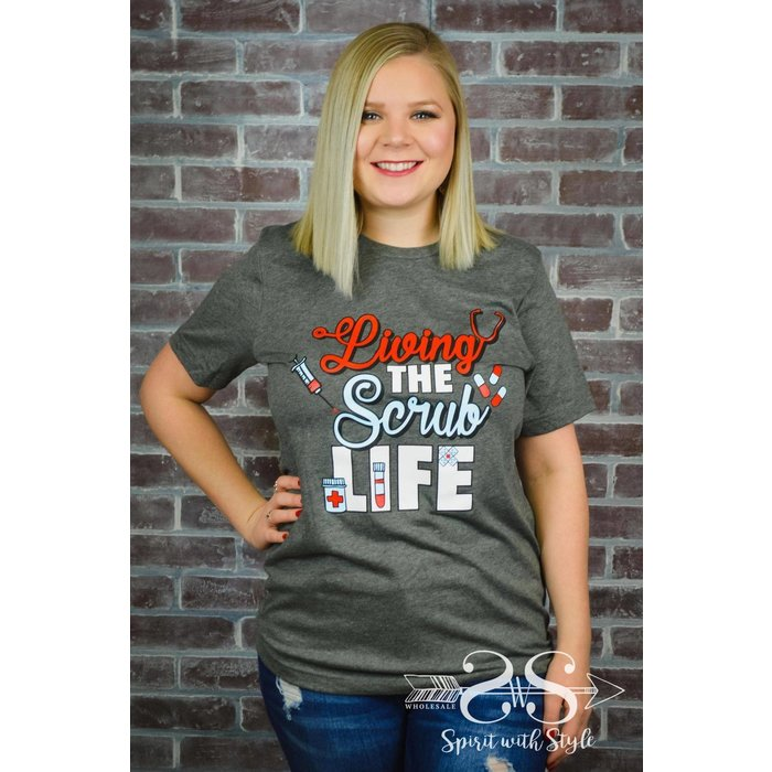 Charcoal Living The Scrub Life V-Neck Graphic Tee