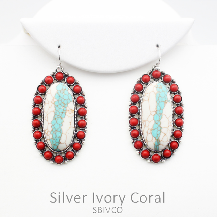 Red Oval Ivory Turquoise Stone Earrings