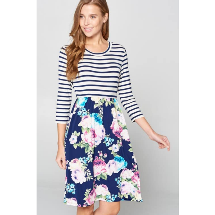 Navy Floral Striped 3/4 Sleeve Dress