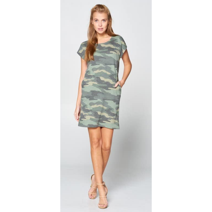 Camo Short Sleeve Shift Dress w/Pockets