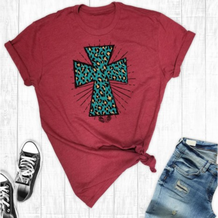 Cardinal Leopard Cross T-Shirt