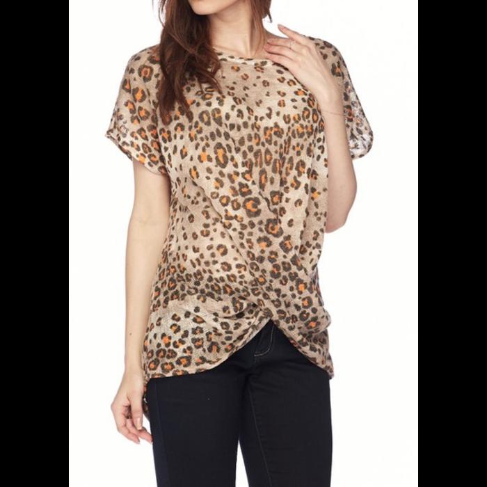 Mocha Cheetah Front Twist Top