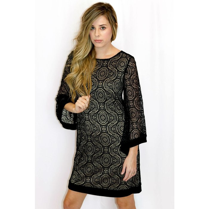 Black Lined Lace Bell Sleeve Dress