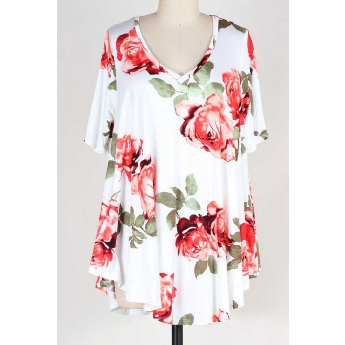 PLUS Loose Fit Floral Print Tunic