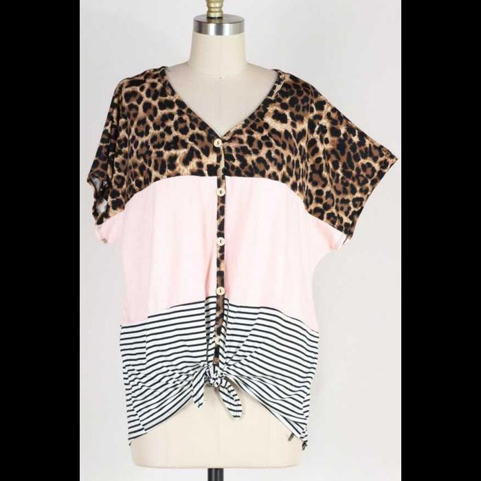 PLUS Striped Leopard Color Block Top