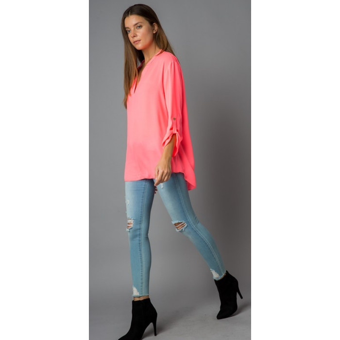 Neon Pink Roll Tab Sleeve Blouse
