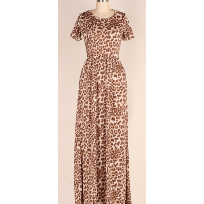 Short Sleeve Leopard Print Maxi Dress