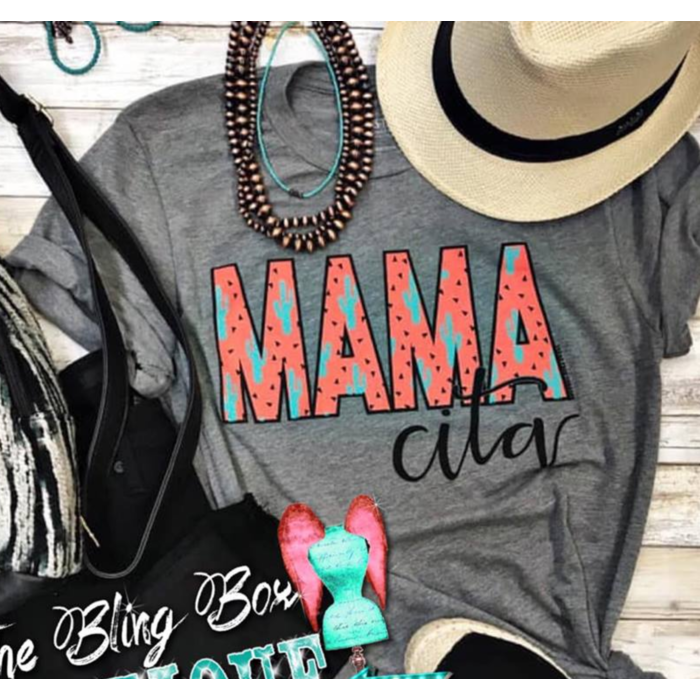 Coral Mamacita on Grey T-Shirt