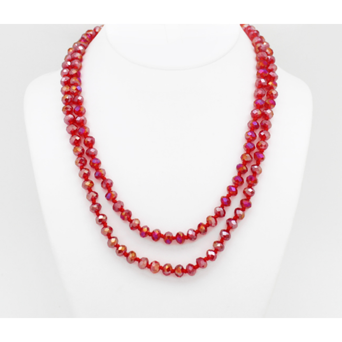 """Clear Red AB 60"""" Crystal Beaded Necklace"""
