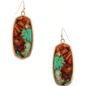 Brown & Aqua Marble Oval Earrings