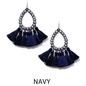 Small Navy AB Open Teardrop Tassel Earrings