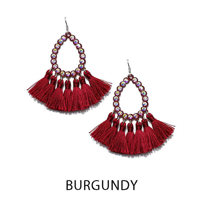 Small Burgundy AB Open Teardrop Tassel Earrings