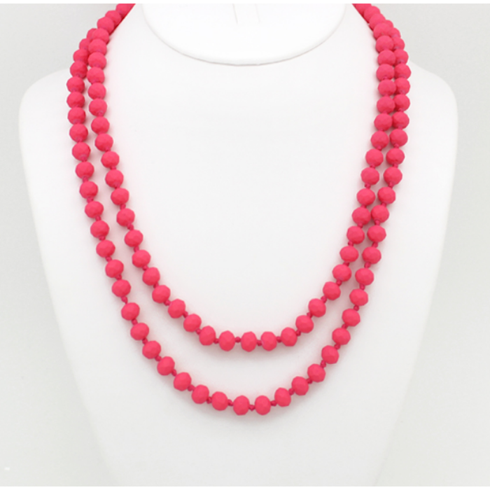 "Matte Hot Pink 60"" Crystal Knotted Long Necklace"