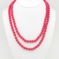 """Matte Hot Pink 60"""" Crystal Knotted Long Necklace"""