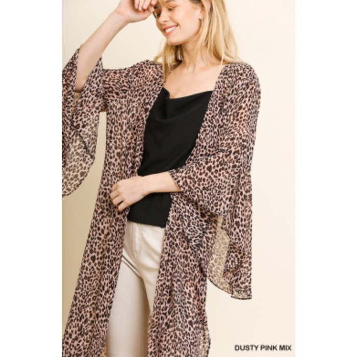 Long Leopard Ruffle Sleeve Side Slit Duster